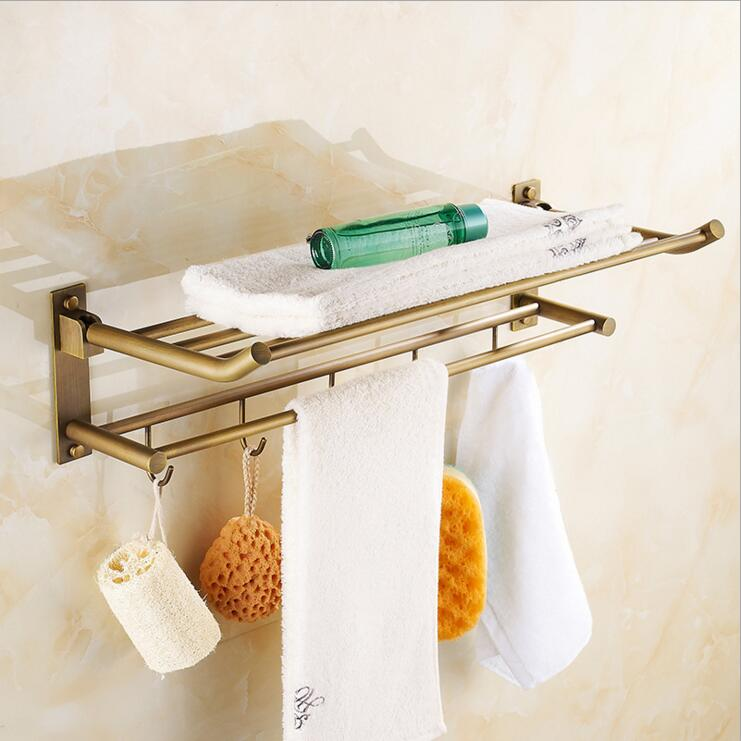 European brass Bathroom accessories antique full copper folded towel rack bathroom Continental Shelf hook bathroom towel rack european brass