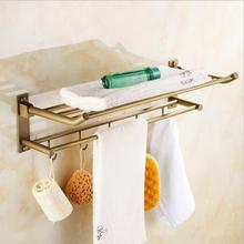 Европейский латунь аксессуары для Ванной Комнаты античная медных сложенное полотенце стойки ванной Континентального Шельфа крюк ванной вешалка для полотенец