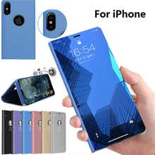 Flip Case Mirror View Smart Phone Cover for iPhone 5 5S 6 6S 7 8 Plus X XS MAX XR Leather Back Cell Phone Case Shell Coque etui mooncase чехол для apple iphone 6 plus 5 5 inch view window leather flip bracket back cover gold
