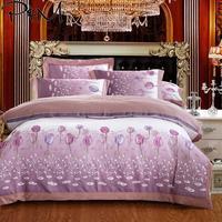 2019 Purple Grey Tulips Floral Bedlinens Queen King Size Flat Sheet Embroidery Duvet Cover Set Silk Cotton Bedding Set