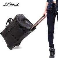 Letrend Oxford Arabası Erkekler Yüksek kapasiteli Haddeleme Bagaj Kadınlar Kabin Seyahat Duffle kadın Çanta Öğrenci Bavul Tekerlekler Gövde