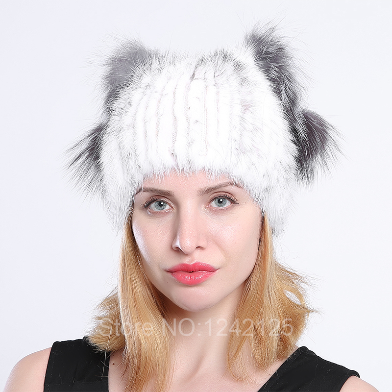 New winter Parent-Child women girl kids genuine leather mink fur hat with fox pompoms lovely cat ear latest real fur caps hat hm039 real genuine mink hat winter russian men s warm caps whole piece mink fur hats