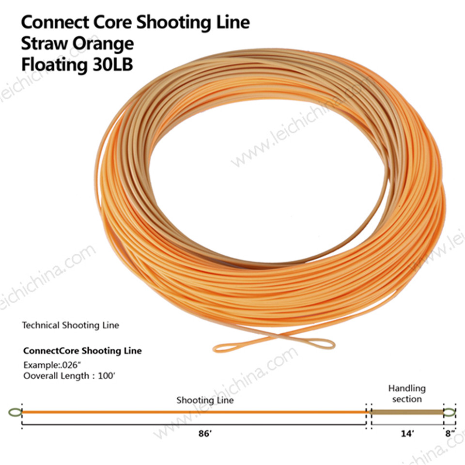 Maximumcatch ConnectCore Shooting line 100ft Straw/Orange 30lb Floating Running Line Fly Fishing Line with 2 Welded Loops maximumcatch shooting head fly line 5s 6s 7s 8s 10f 9 5m floating sinking fly line with 2 welded loops