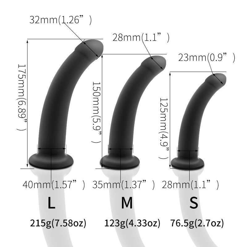 Runyu Sex Shop 3PCS Curved Silicone Suction Cup Simulation Dildo Waterproof  Masturbator  Anal plug Adult Sex Toys For Woman Men