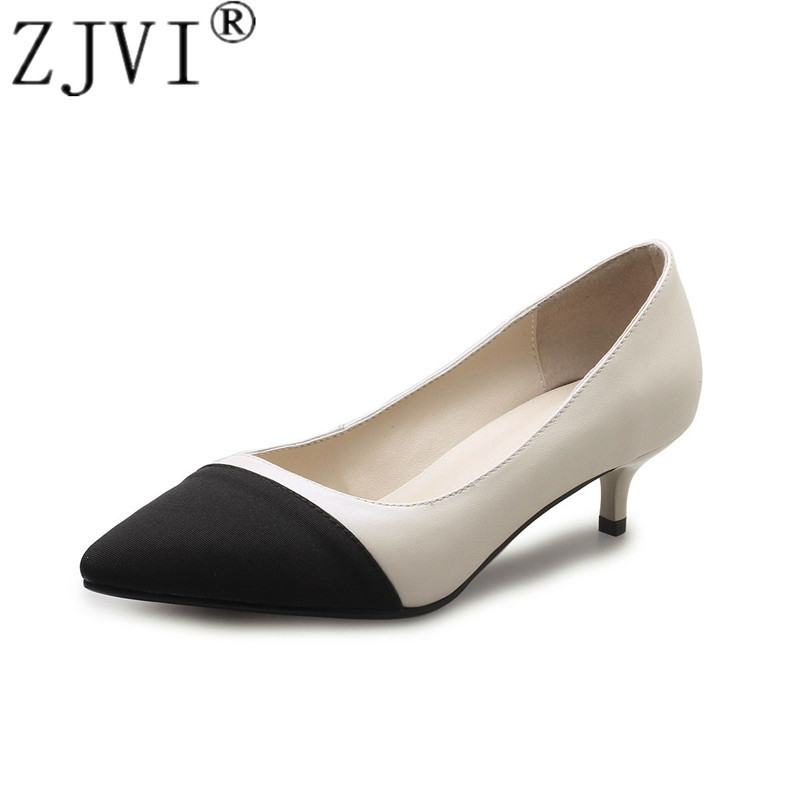 ZJVI women 2018 thin heels genuine leather pumps womens fashion pointed toe summer autumn ladies pump woman mixed colors shoes zjvi woman pointed toe thick high heels pumps 2018 women spring autumn lace up shoes ladies women s female nubuck casual pump