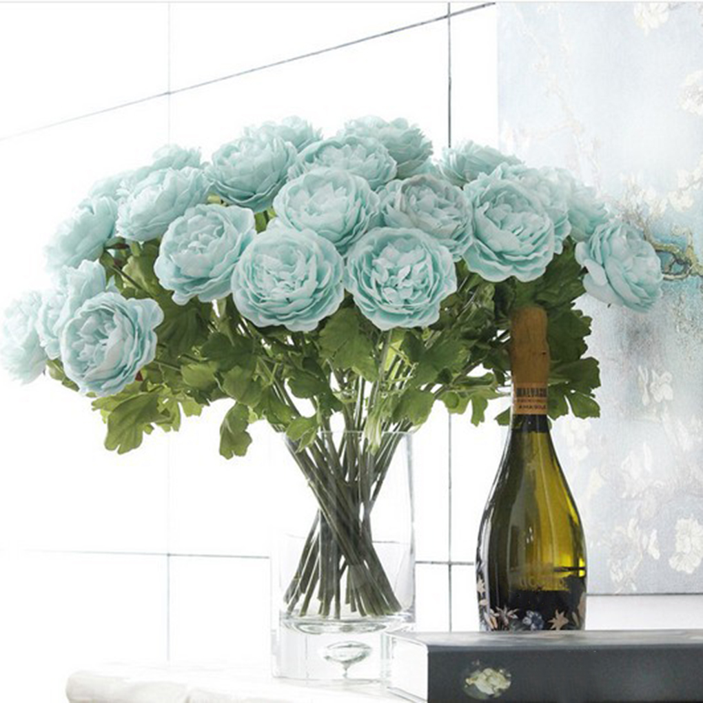 ᗜ LjഃNew Style Artificial Peony Silk Flowers Bouquet Home Office ...