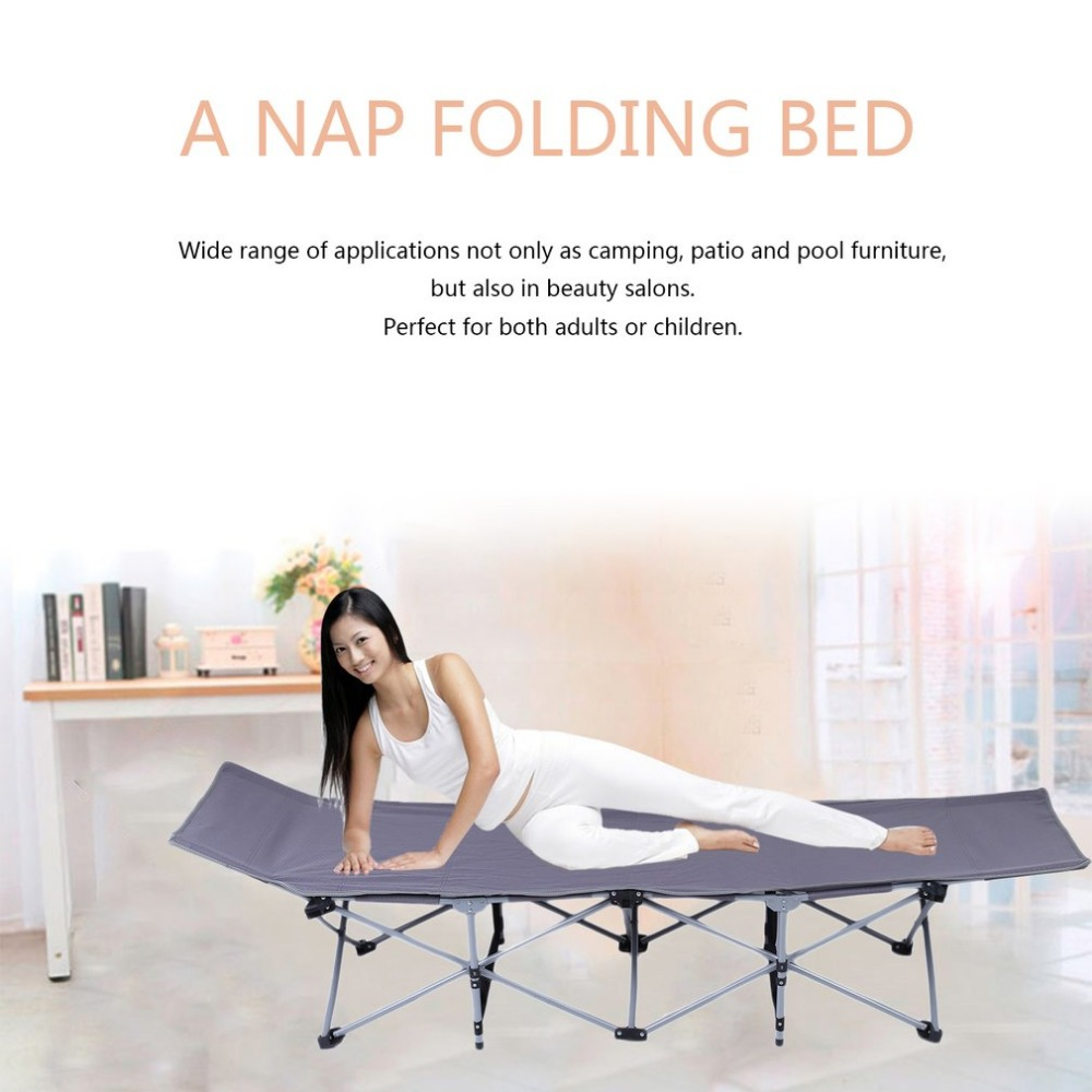 Outdoor Nap Folding Bed Camping Travel Mat Ultralight Single Bed Sturdy Comfortable Portable Sleeping Supplies Steel Frame Leg