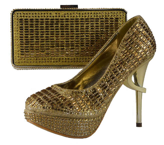 ФОТО Free Shipping 2015 NEW ARRIVAL !!! Comfortable with the shoes and matching bag set SS-2693 GOLD