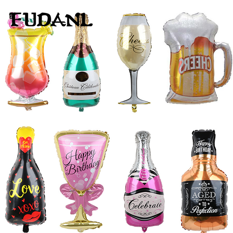 Happy <font><b>18</b></font> 30th Birthday Party Decoration Golden Crown Champagne Glasse Whiskey Bottle Cup Foil Balloon Anniversary Party Balloons image