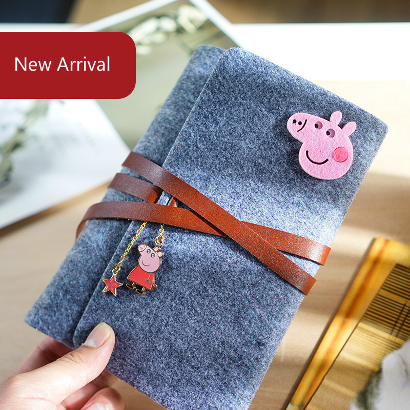 A5 Korea Cute Planner Notebook Kawaii School Stationery Notebook Spiral Ring Binder Felt Notebook Personal Diary Organizer Bujo цена