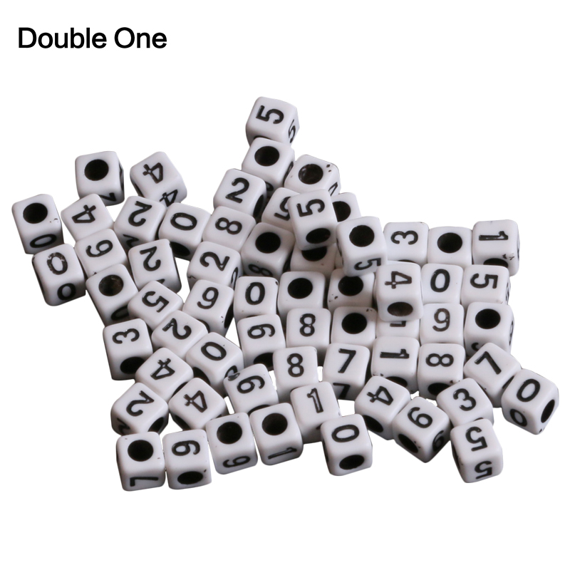 Jewelry & Accessories 7mm 100pcs White And Black Number Cube Acrylic Neon Beads For Jewelry Making Diy Ykl0357x