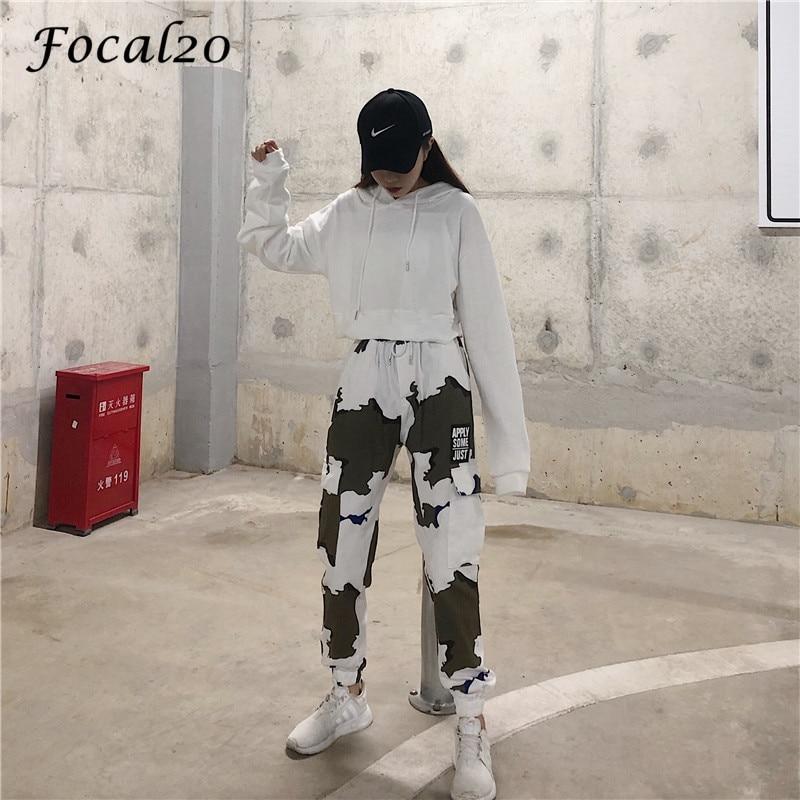 Focal20 Streetwear Letter Print Camouflage Women Pants Elastic Waist Pocket Pants Full Length Loose Pants Trousers 6