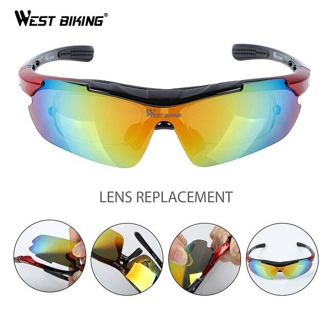West biking ciclismo óculos polarizados 5 lente ao ar livre óculos de sol da bicicleta mtb estrada ciclismo das mulheres dos homens ciclismo eyewear 2