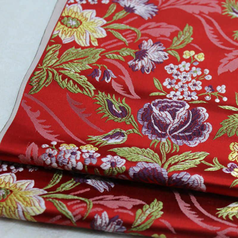 CF558 пион жаккардовая парча красный/синий/черный ткань китайская свадебная ткань китайские невесты платье одежда Лоскутная Ткань для шитья