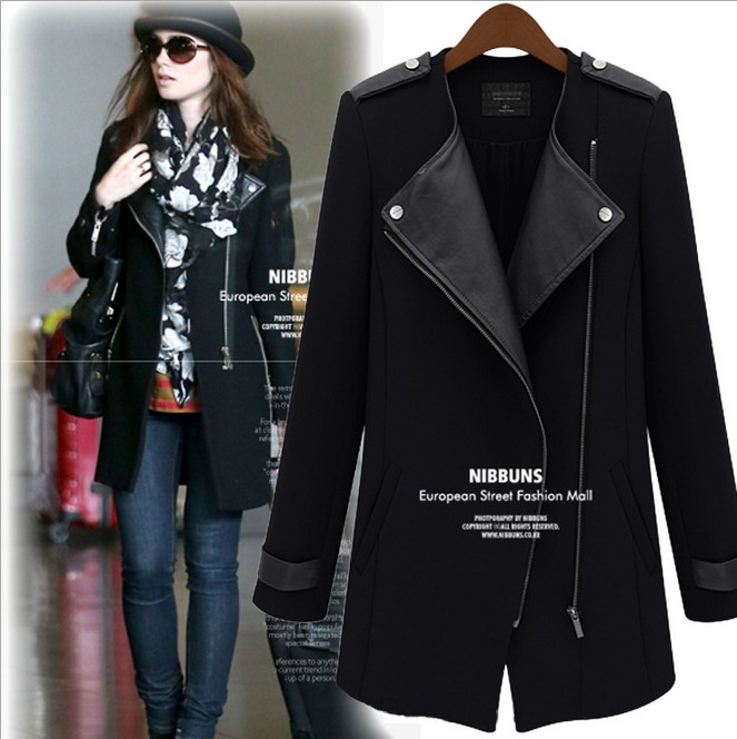 2014 New trench coat leather sleeves,designer trench coats women ...