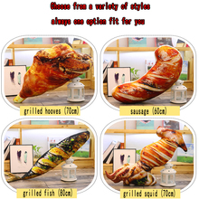 Small Creative pillow 3D Simulation Snack Pillows Food barbecue fish chicken wing leg Doll Cushion Throw Pillow Plush Toys