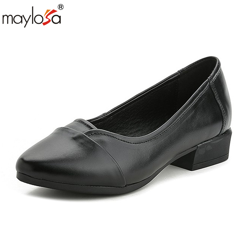 MAYLOSA  2017 Women Shoes Genuine Leather pumps Heels Round Toes Handmade Cow Leather Women Shoes genuine cow leather female women s 10cm heels pumps round toes black beige quality female pr354 wedding party work pumps shoe