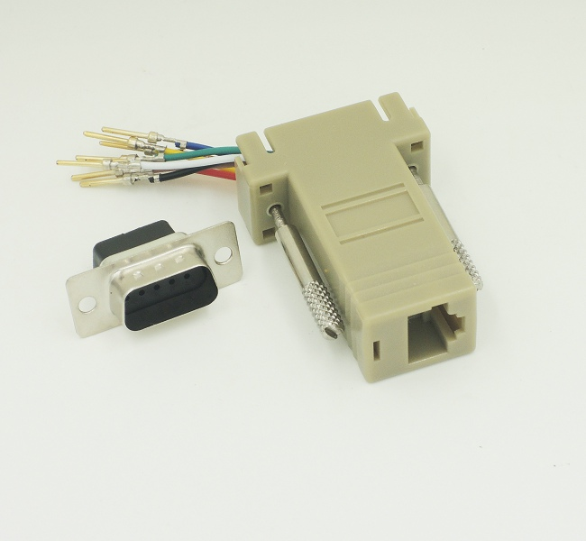 100pcs lot Free Shipping DB9 Male to RJ45 Female RS232 Modular Adapter
