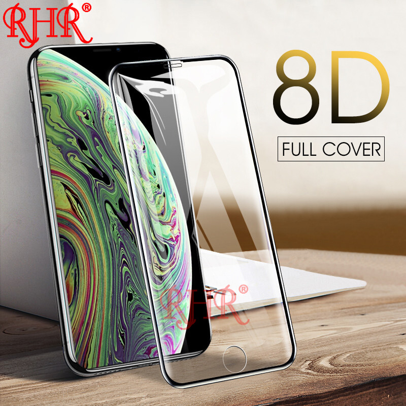 RHR 8D Tempered Glass On The For iPhone 6 6S 7 8 Plus Full Cover Screen Protector For iPhone X 5 5S SE Protective Glass Film image