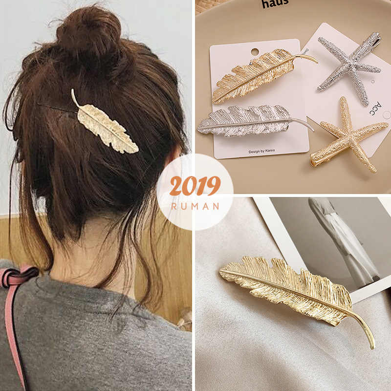 F224 1Pcs Gold Leaf Hair Clip Girls Vintage Hairpin Princess Women Hair Styling Accessories Hairpins For Women Braiding Styling