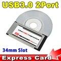2016 PCI Express para USB 3.0 Adaptador de Cartão De PCI-E 5 Gbps PCMCIA 2 Portas Duplas para NEC Chipset Slot ExpressCard de 34 MM conversor