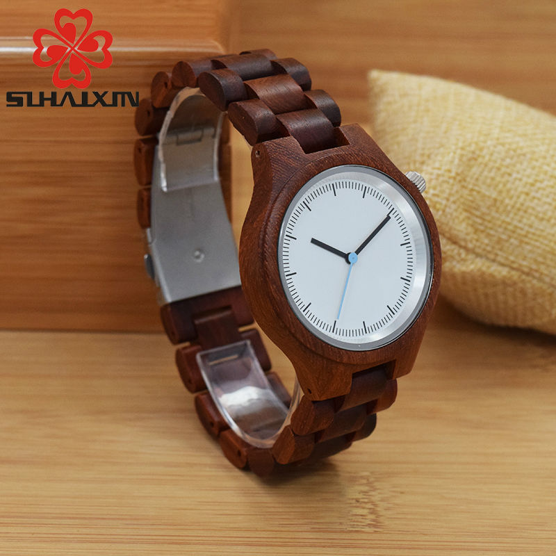 SIHAIXIN Men's Natural Wooden Wristwatch Wood Watch Quartz High Quality Red Band Bamboo For Woman Man Clock Free Shipping Unisex high quality minimalism elegant ladies quartz wristwatch hand made full wooden bamboo simplel small watchband wood watch female