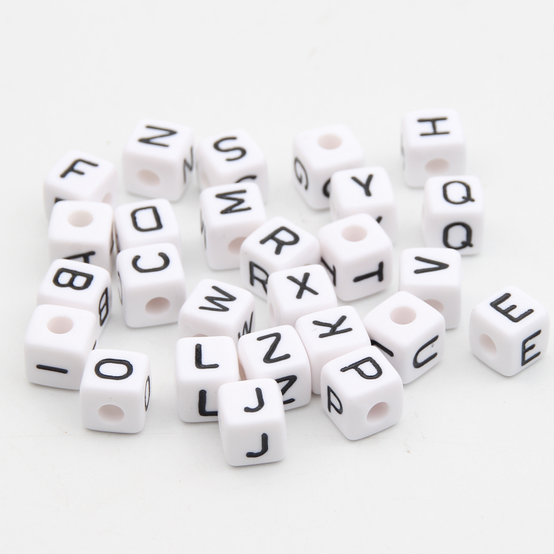 Gift Wholesale Mixed Cubic Acrylic Letter// Alphabet Beads 10x10mm