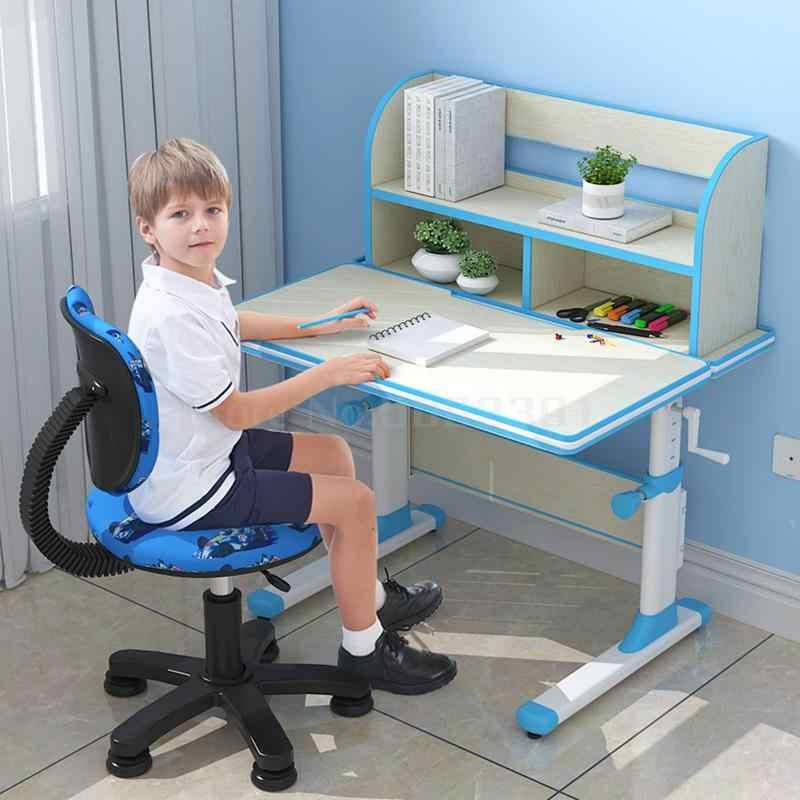 Crianças Mesa de Estudo Mesa, Mesa, cadeira Conjunto Combinação Estante Meninas Estudantes Da Escola Primária Pode Levantar Mesa E Cadeira Househ