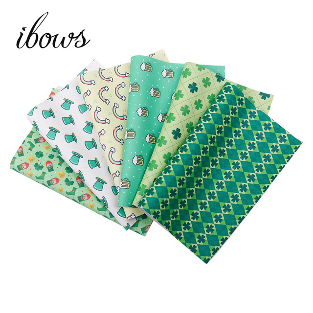 Ibows Faux Leather Sheets Clover Printed Vinyl Fabric St Patrick S Day Decor Diy Hairbow