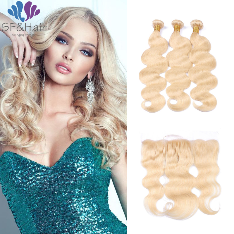 #613 Blonde Virgin Hair With Frontal Brazilian Body Wave Bundles With Frontal Light Blonde Lace Frontal Closure With Bundles