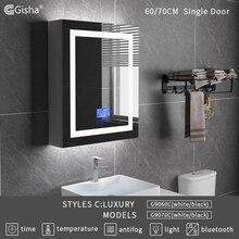 Gisha Duvara Monte Akıllı LED Ahşap banyo makyaj aynası Dolabı Dokunmatik Ekran Bluetooth Akıllı Banyo anti sis Ayna