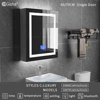 Gisha Wall Mount Smart LED Wood Bathroom Makeup Mirror Cabinet With Touch Screen Bluetooth Intelligent Bath Anti-fog Mirror