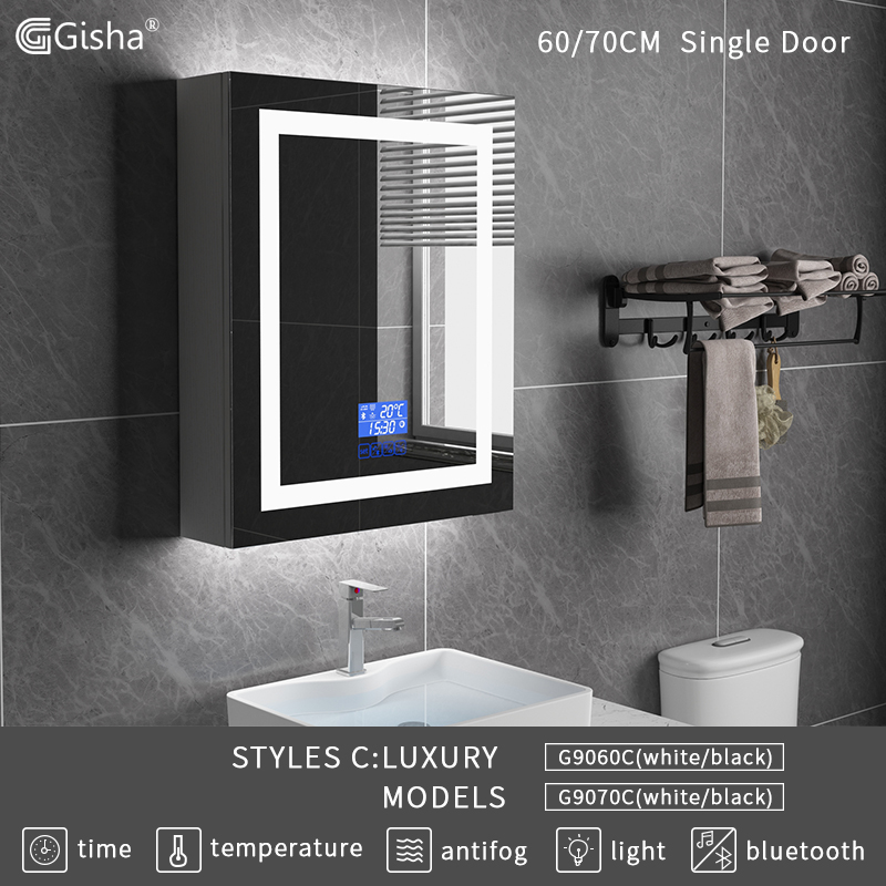 Gisha montaje en pared inteligente LED de madera baño espejo de maquillaje gabinete con pantalla táctil Bluetooth inteligente baño Anti-niebla espejo