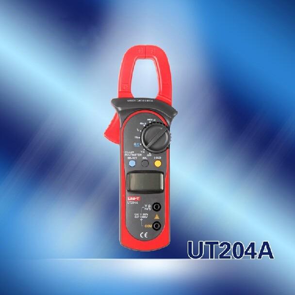 Original UNI-T UT204A UT204 UT-204A Digital Clamp Meter Multimeter VS Fluke Voltage AC Current Diode Auto Range AC-DC Max 600A uni t ut205 ture rms auto manual range digital handheld clamp meter multimeter ac dc voltage aca test tool