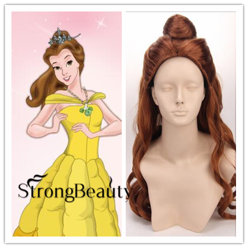 Princess Belle COSplay wigs Beauty and the Beast Ladies long Brown Anime Curly #
