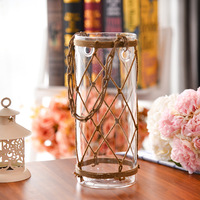 O.RoseLif Brand New creativity Office Glass Vase With Rope Home decoration home Terrarium for wedding decoration