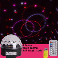 6 Colors Stage Light LED Moving Head Remote Control LED Magic Ball Lamp MP3 DJ Disco Music Laser Light Rotating Disco Party Lamp