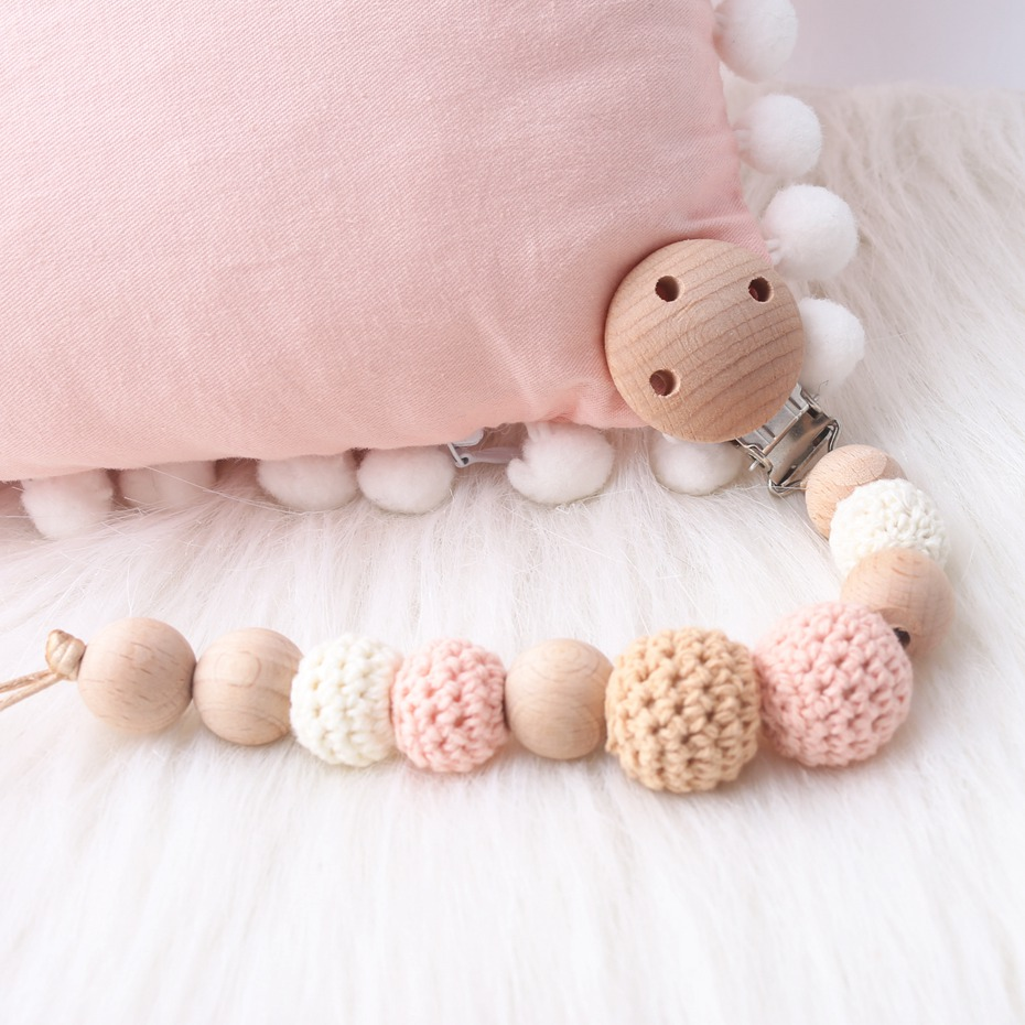 1pc Wooden Beads Baby Pacifier Clips Chain Rattle Toys Bracelet Crochet Beech Wood Ring For Kid Products