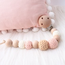 1pc Wooden Beads Baby Pacifier Clips Chain Rattle Toys Bracelet Wooden Crochet B