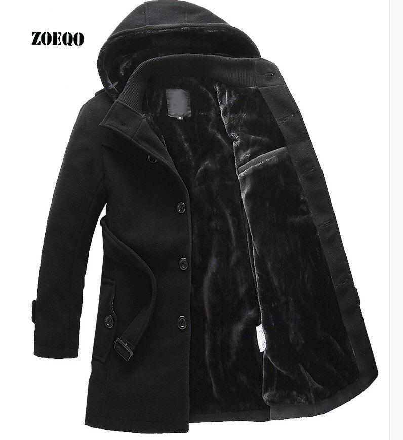 ZOEQO ใหม่หนายาว plus ขนาดเสื้อแจ็คเก็ตฤดูหนาว Overcoat trench แจ็คเก็ตชายฤดูหนาวที่อบอุ่น parka ผู้ชาย plus ขนาด 641-ใน เสื้อกันลม จาก เสื้อผ้าผู้ชาย บน   1