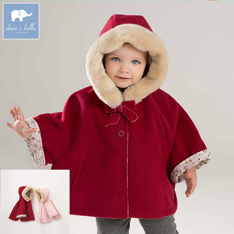 DBM7753 dave bella autumn winter infant baby girls coat toddler Hooded coats children high quality outerwear db5975 dave bella autumn infant baby unisex boys girls coat fashion clothes toddler baby warm hooded coats children high quality