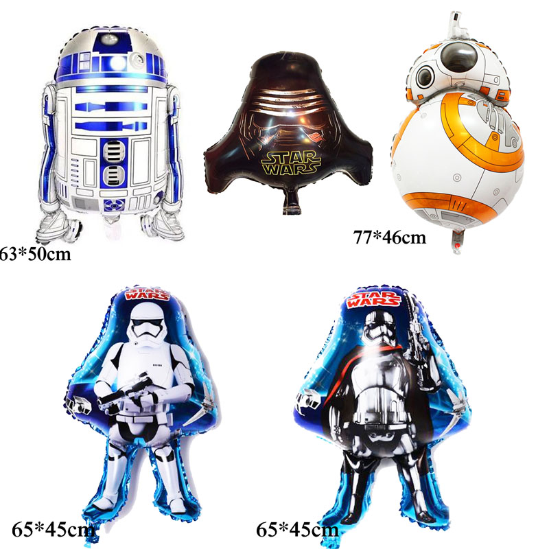 Mixed 5pcs Foil Balloons Star Wars Balloons For Birthday Balloons Party Decoration Including BB8 R2D2 Robot Balloons