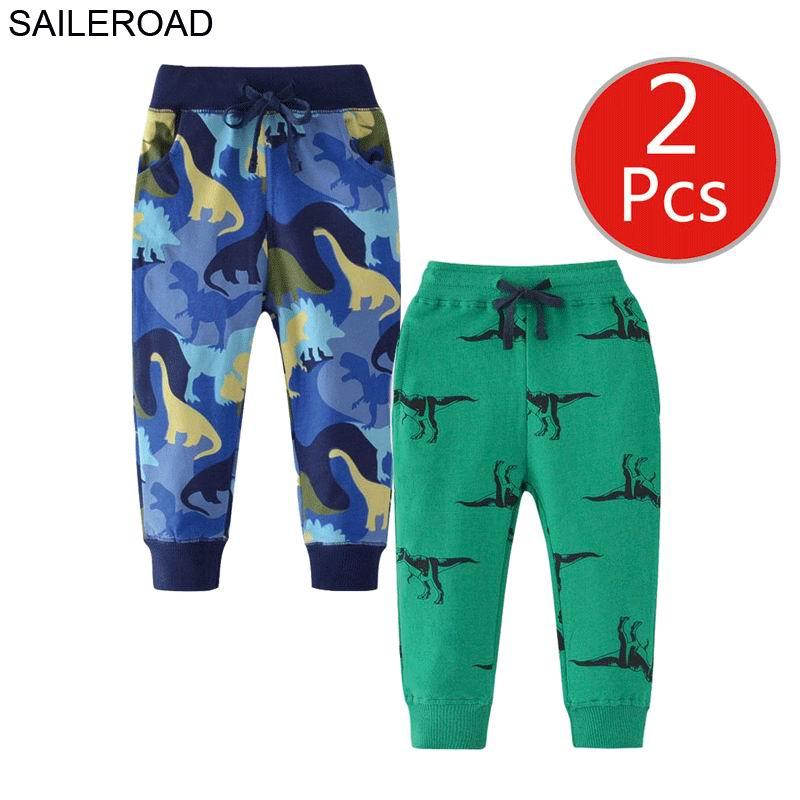 SAILEROAD 2pcs Cartoon Hug Me Dinosaur Pants Kids Boys Fall Clothes Children 7 Year Kids Sweatpants Warm Pants for Boy Trousers 3