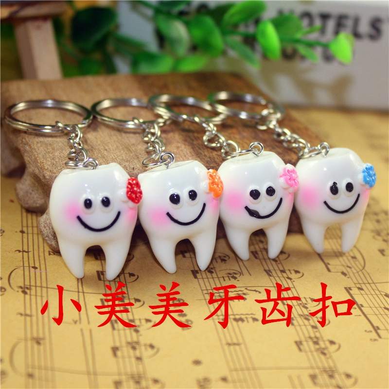 5pcs/lot Simulation Cartoon Teeth Keychain Dentist Decoration Key Chains Resin Tooth Model Shape Key Rings Dental Clinic Gift