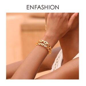 Image 5 - Enfashion Zuivere Vorm Kleine Link Chain Manchet Armbanden Gouden Kleur Messing Armbanden Voor Vrouwen Accessoires Sieraden Bijoux BF182032