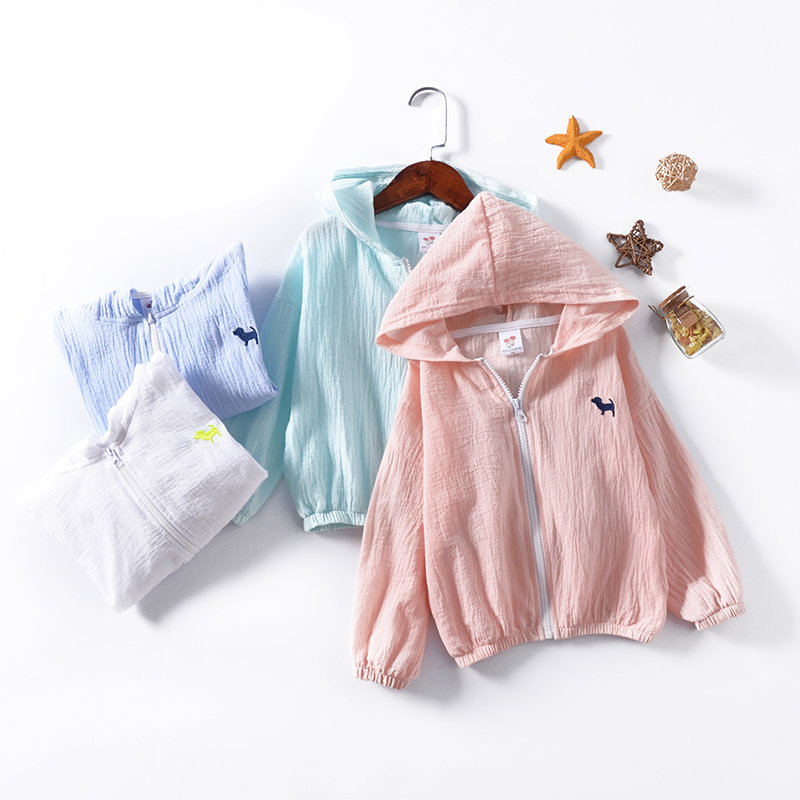 2018 summer new cotton long sleeved children 39 s puppy zipper Hooded Jacket children 39 s sunscreen clothing factory direct sale in Hoodies amp Sweatshirts from Mother amp Kids