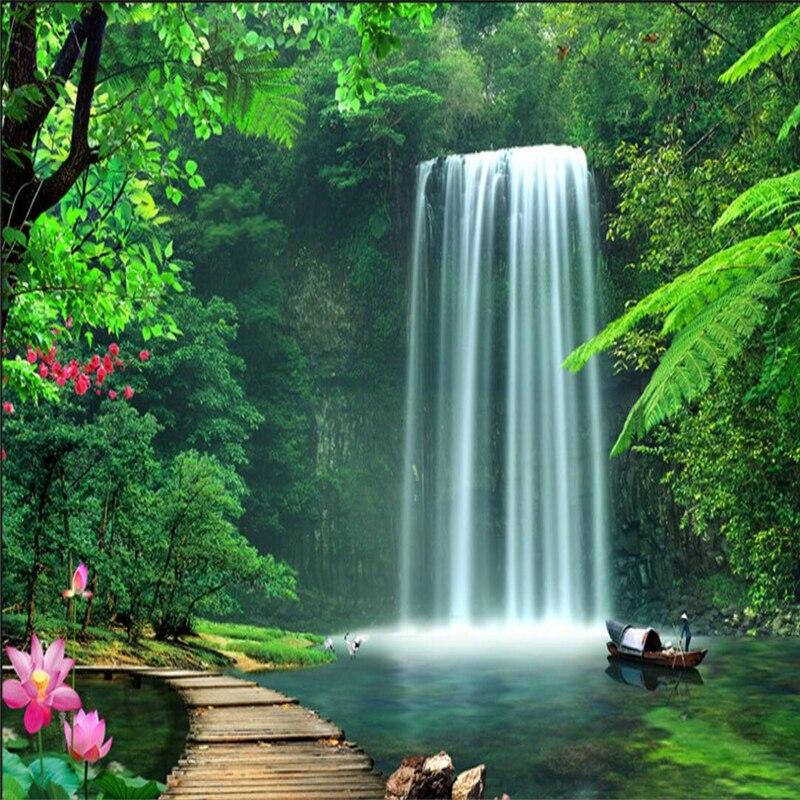 Beibehang personnalisé photo fond d'écran papier peint paysage cascade fond mural 3D grand ...