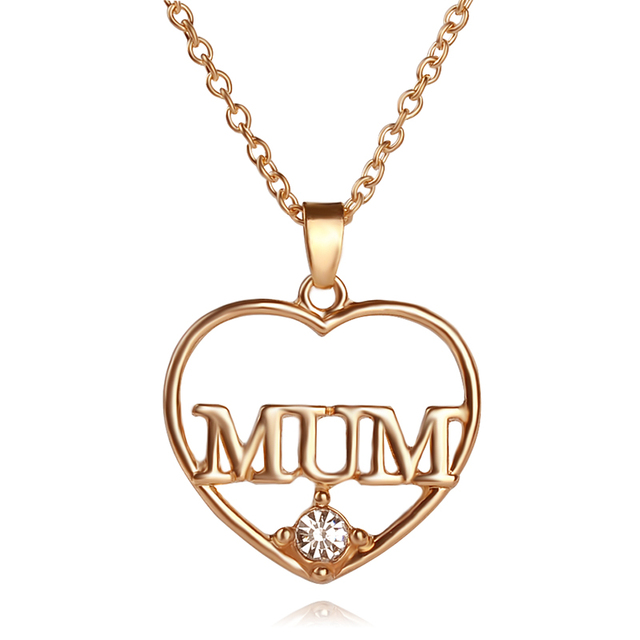 Mum Heart Style Pendant with Crystal