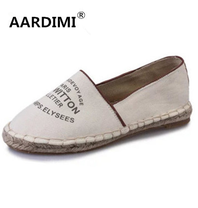 New 2017 designer canvas shoes woman spring solid women loafers fashion straw soles slip on women flats shoes espadrilles women