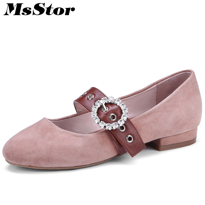 MsStor Round Toe Slip On Women Ballet Flats Fashion Crystal Buckle Casual Women Flat Shoes Natural Leather Pregnant Women Shoes cresfimix women cute spring summer slip on flat shoes with pearl female casual street flats lady fashion pointed toe shoes